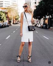 dress,white dress,sleeveless dress,black sandals,black bag,crossbody bag,black sunglasses,classy