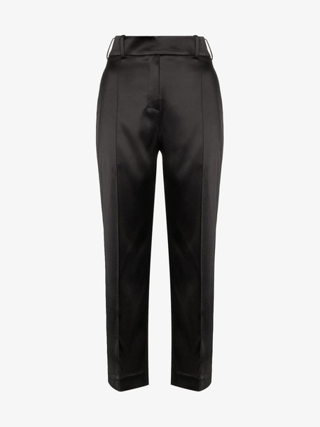 Alexandre Vauthier High-waisted cropped satin trousers in black