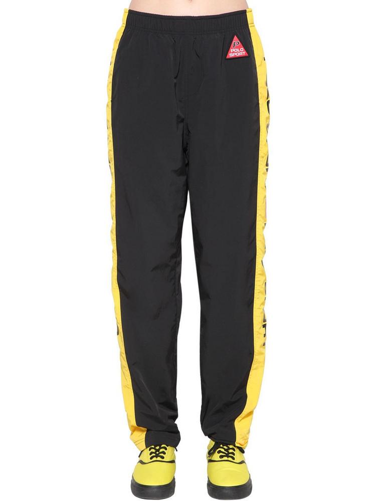 POLO RALPH LAUREN Og Nylon Track Pants in black / yellow