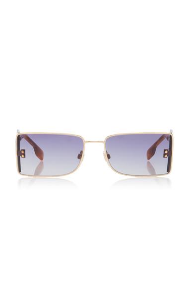Burberry Square-Frame Gold-Tone Sunglasses in blue