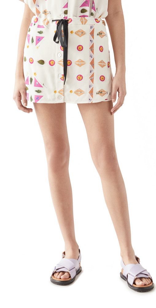 Victoria Victoria Beckham Printed Pressed Botanicals Faille Skirt in pink / multi