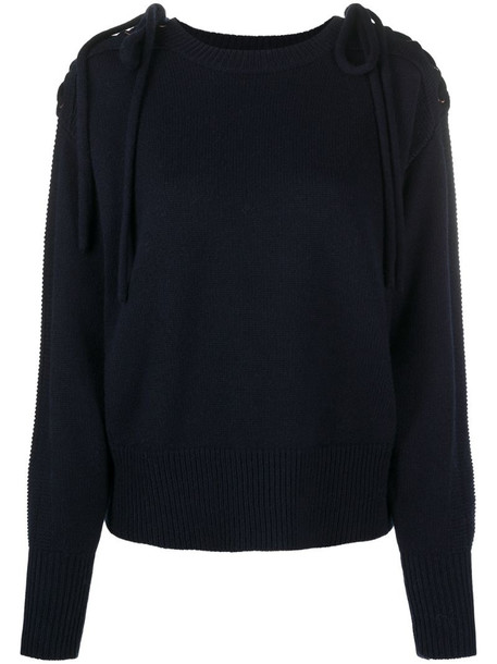 See by Chloé embroidered chain detail jumper in blue