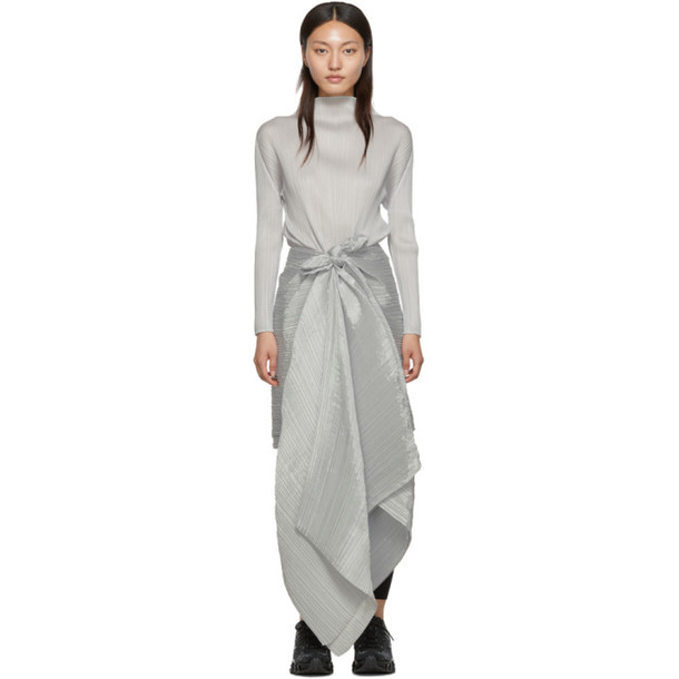 Pleats Please Issey Miyake Grey Basic Madame-T Pleated Poncho
