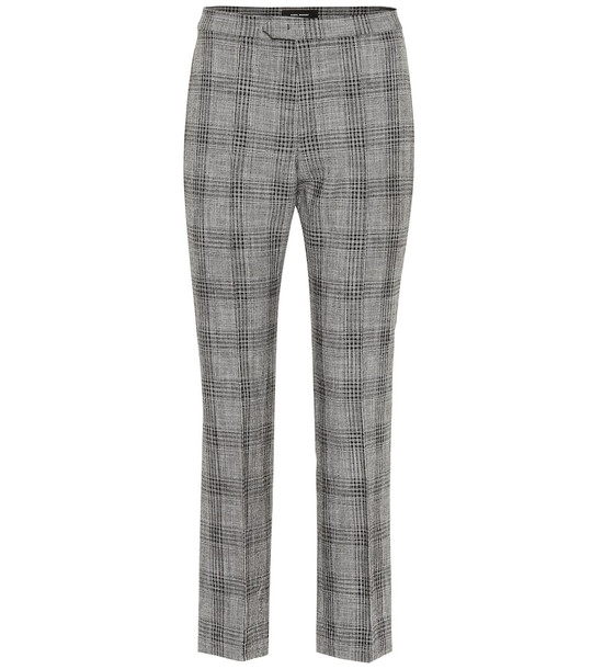 Isabel Marant Derys checked cotton and wool pants in grey