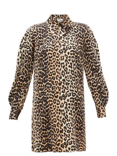 Ganni - Leopard-print Satin Mini Shirtdress - Womens - Leopard