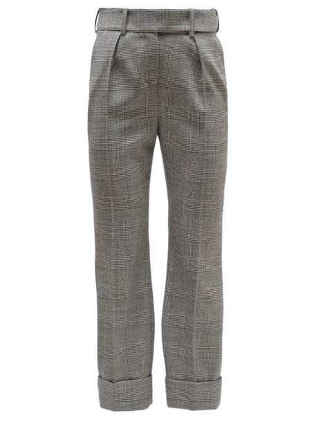 Alexandre Vauthier - Prince Of Wales Check Wool High Rise Trousers - Womens - Grey Multi