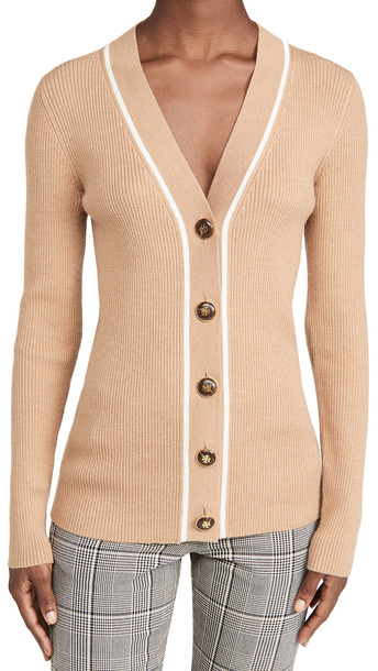 Tory Burch Ribbed Simone Cardigan in camel / ivory
