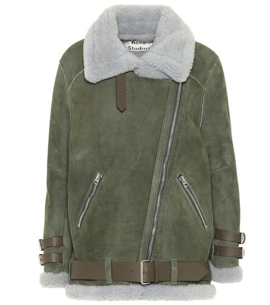 Acne Studios Velocite shearling jacket in green