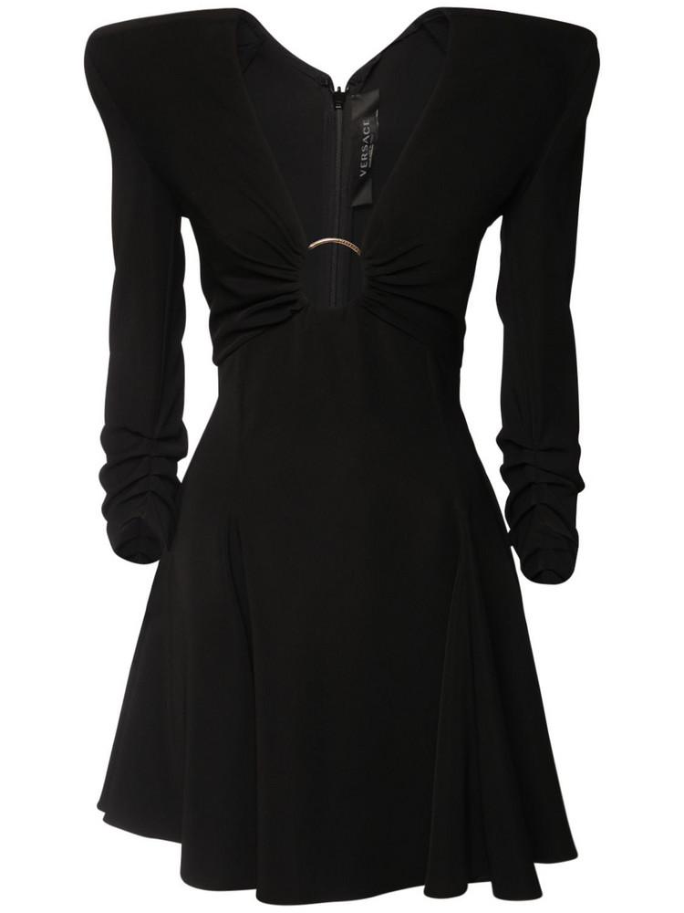 VERSACE Cady Mini Dress W/ Ring Detail in black