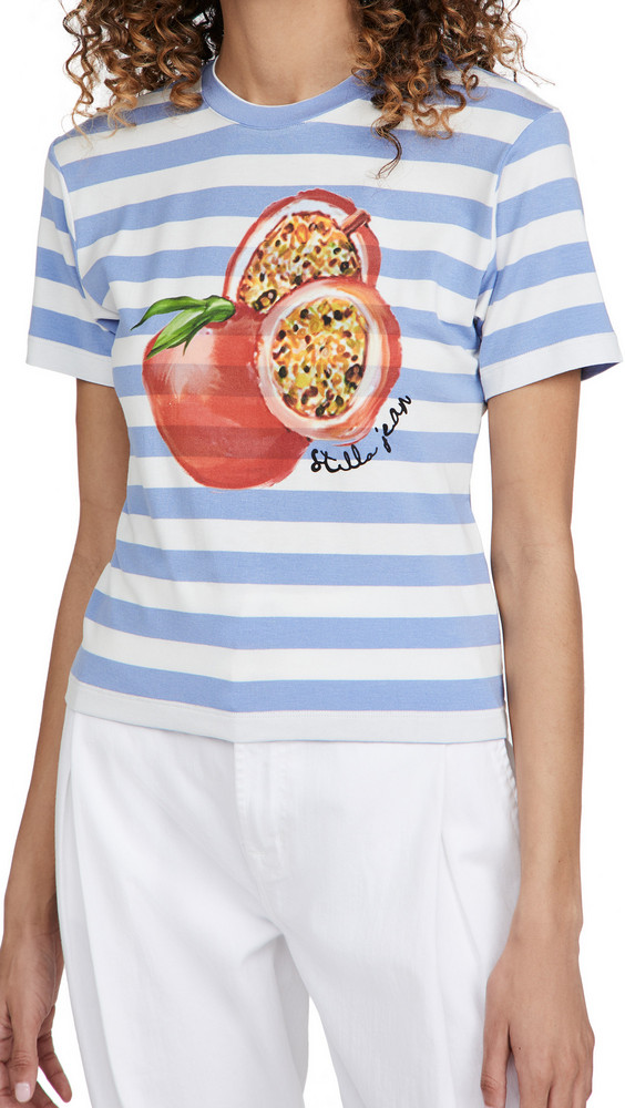Stella Jean Slim T-Shirt with Pomegranate Print in blue / white