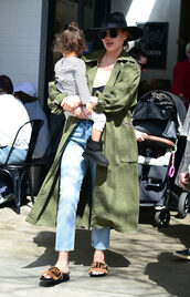 shoes,slide shoes,chrissy teigen,celebrity,spring outfits,trench coat,coat