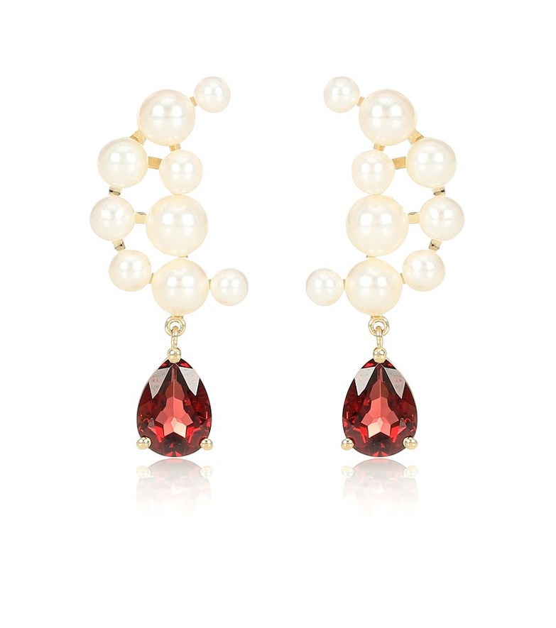 Anissa Kermiche Blood sisters 14kt-gold pearl and garnet earrings