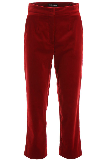 Dolce & Gabbana Velvet Trousers in red