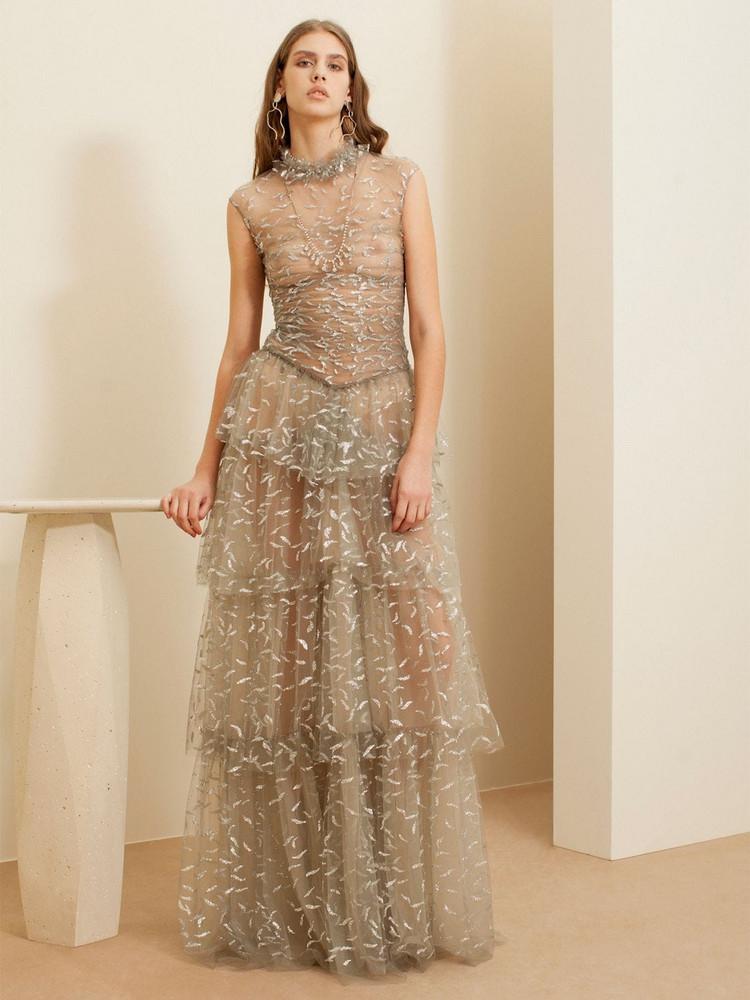 SANDRA MANSOUR Long Glittered Tulle Dress in grey