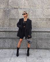 shorts,black shorts,black boots,heel boots,dior bag,black blazer,oversized,black t-shirt,black sunglasses