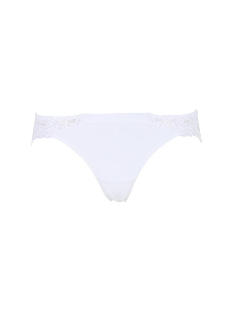 LA PERLA Souplé Cotton & Lace Brazilian Briefs in white
