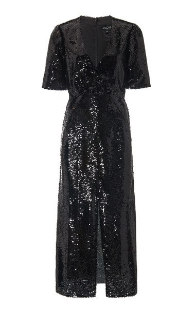 Saloni Eden Sequined Silk Midi Dress Size: 0 in black