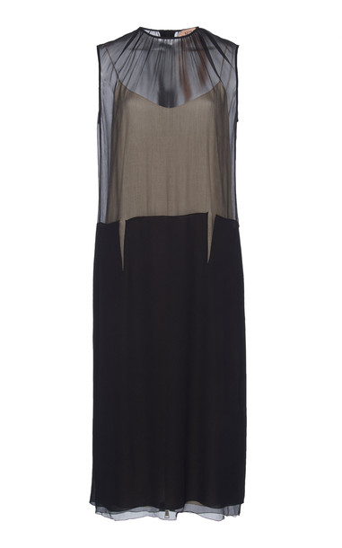 N°21 Gertrude Mixed-Media Dress Size: 48 in black