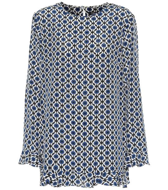 S Max Mara Cento printed silk blouse in blue