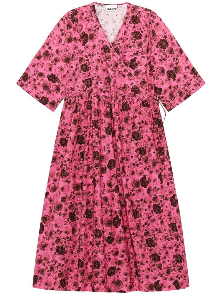 GANNI Printed Organic Cotton Poplin Dress