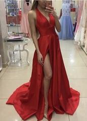 dress,v neck dress,open back dresses,open back,satin,satin dress,red dress,red prom dress,red,slit dress,slit