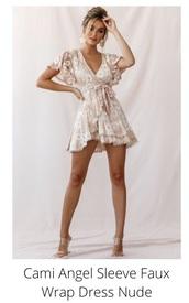 dress,nude,wrap dress,mini dress