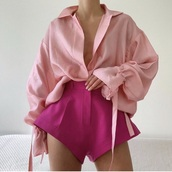 blouse,blogger,pink skirt,pink,pink top,top,casual chic,elegant,classic,classy,fabulous,silk,satin,zara,collar shirt,shirt,unique style,style,trendy,chic,long sleeves,oversized,instagram