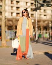 dress,maxi dress,asymmetrical dress,loewe,sandal heels,white bag,leather jacket,suede jacket