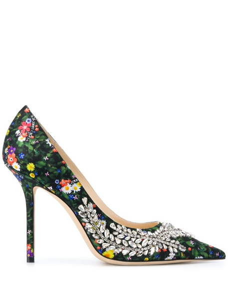 Jimmy Choo Love 100mm floral-print pumps in green