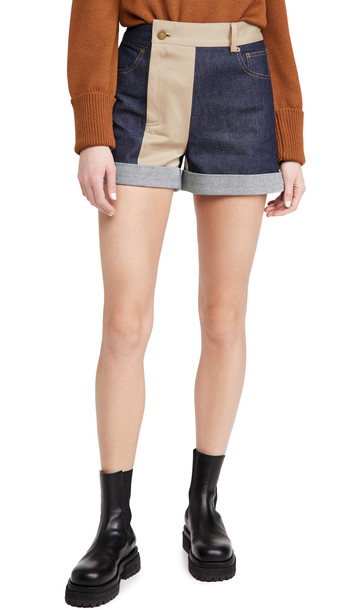 Monse Patchwork Denim and Trouser Shorts in indigo / khaki