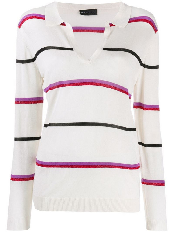 Cashmere In Love striped polo shirt in neutrals