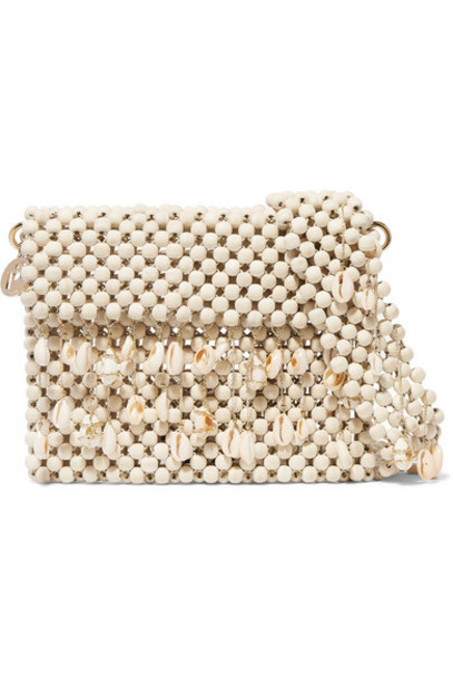 Rosantica - Idra Shell-embellished Beaded Shoulder Bag - Beige