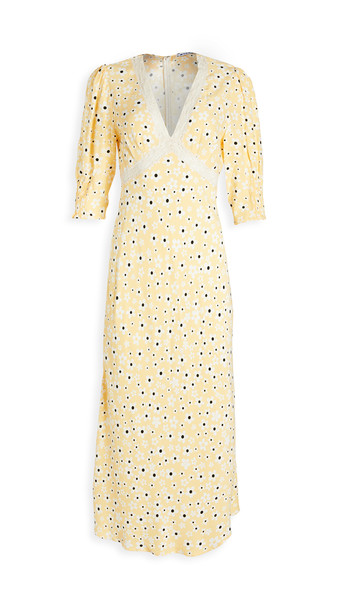 RIXO Gemma Dress in black / white / yellow