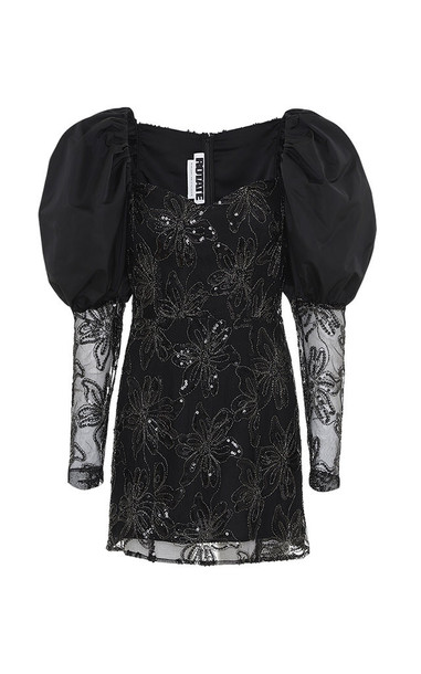 ROTATE Sequin-Embellished Puffed-Shoulder Midi Dress Size: 34