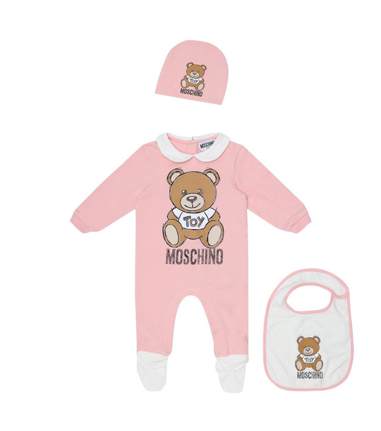Moschino Kids Baby onesie with hat and bib set in pink