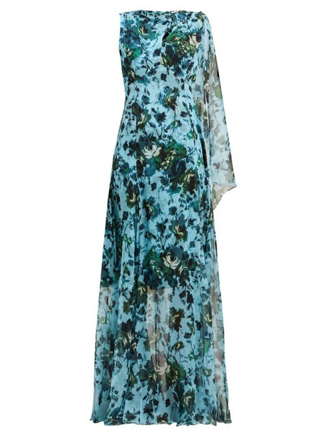 Erdem - Kassidy Floral Print Silk Chiffon Gown - Womens - Blue Multi
