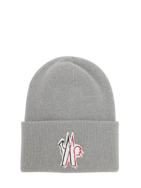 MONCLER GRENOBLE Macro Logo Wool Tricot Hat in grey