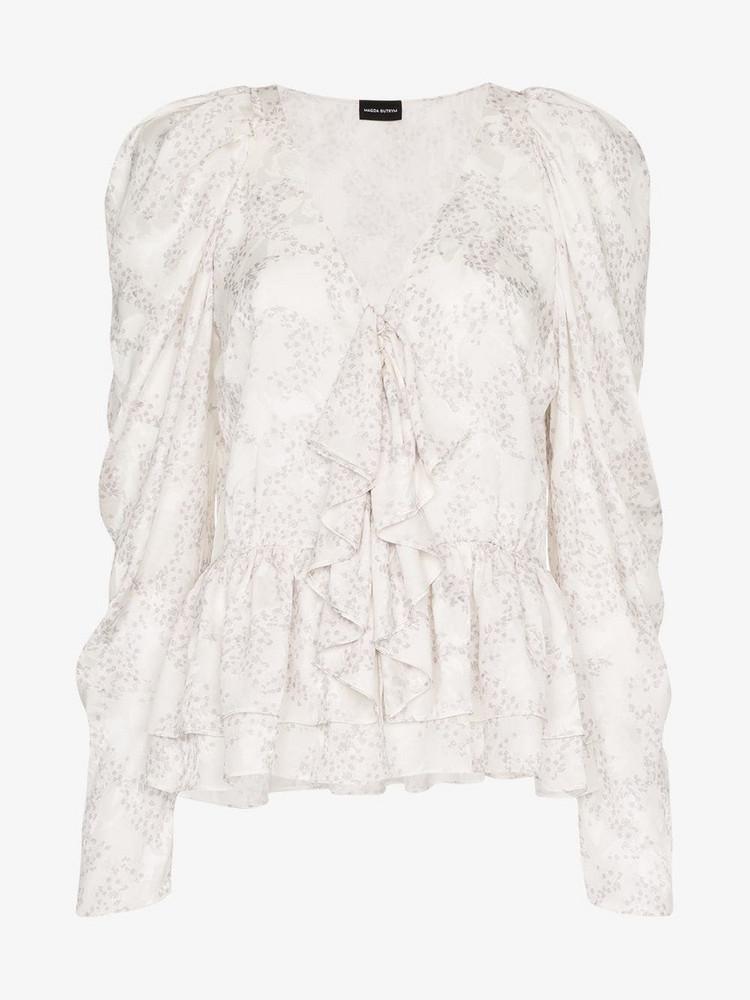Magda Butrym Cefalu V-Neck silk Blouse in white