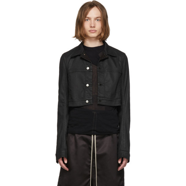 Rick Owens Black Waxed Denim Little Joe jacket
