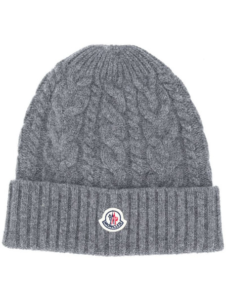 Moncler cable knit logo beanie in grey