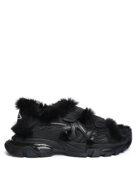 Balenciaga - Logo-debossed Shearling-lined Sandals - Womens - Black