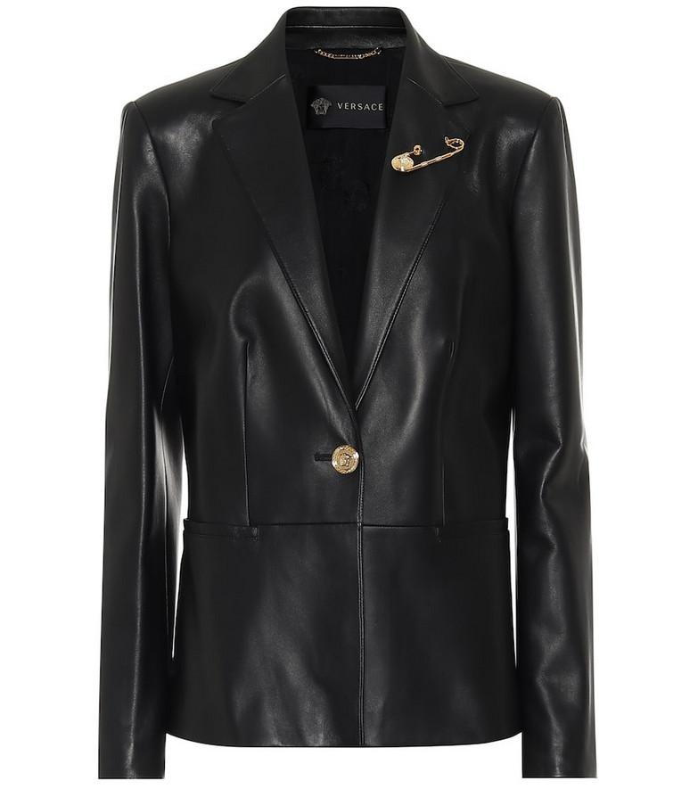 Versace Leather blazer in black
