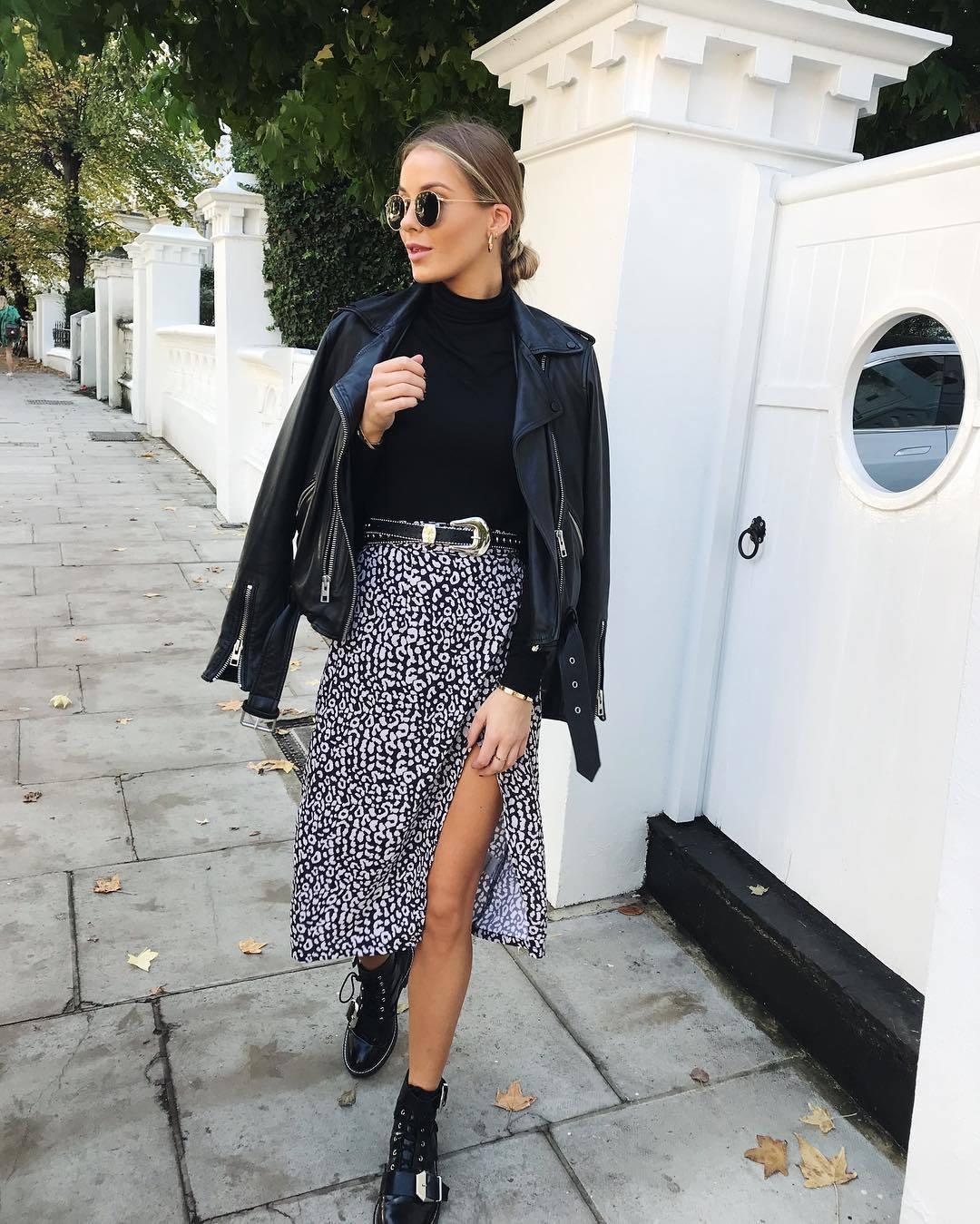 skirt midi skirt leopard print black and white slit dress wrap skirt black boots lace up boots black leather jacket black belt black turtleneck top