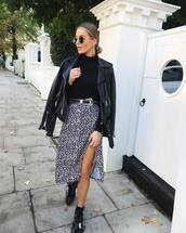 skirt,midi skirt,leopard print,black and white,slit dress,wrap skirt,black boots,lace up boots,black leather jacket,black belt,black turtleneck top
