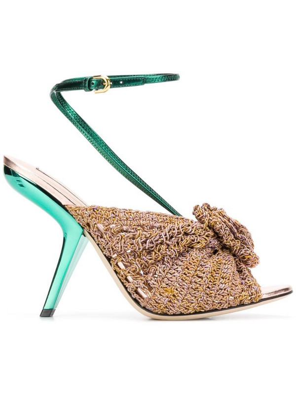 Marco De Vincenzo crochetted flower sandals in pink