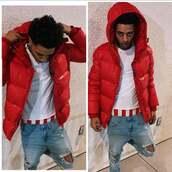 coat,surpreme,bape,off-white,red coat,dope