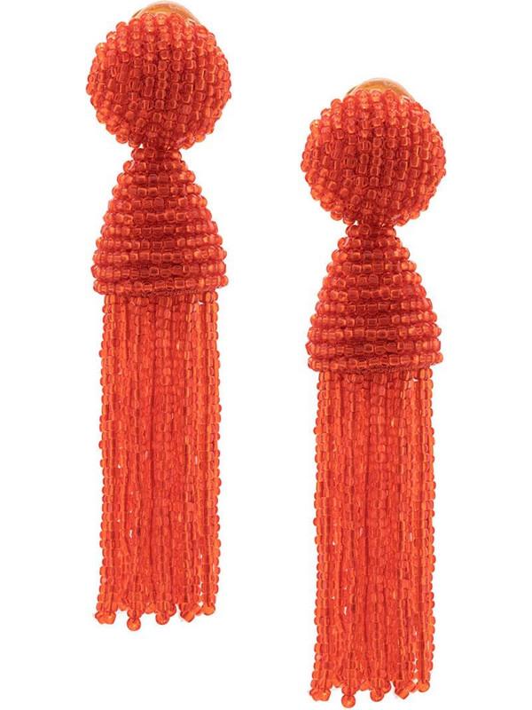 Oscar de la Renta beaded tassel earrings in red