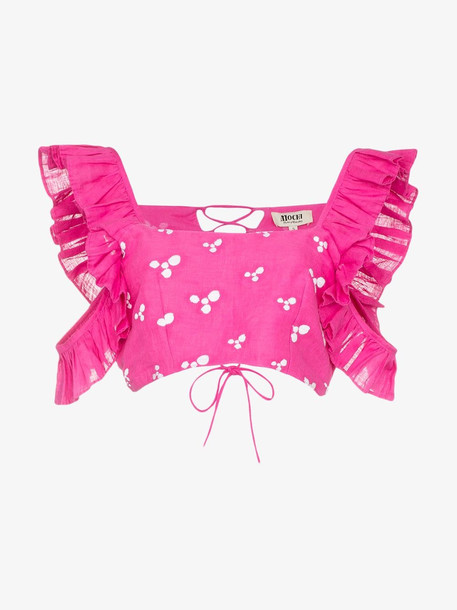 All Things Mochi Coney ruffle sleeve crop top in pink