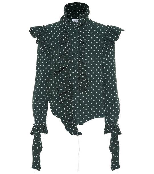 Vetements Polka dot crêpe shirt in green