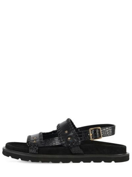 REIKE NEN 30mm Croc Embossed Leather Flat Sandals in black